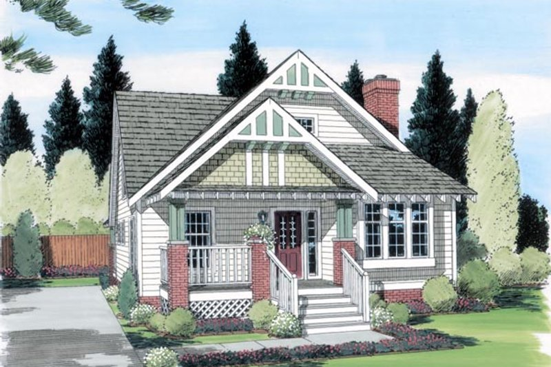 Craftsman Style House Plan - 4 Beds 2.5 Baths 1595 Sq/Ft Plan #312-138 Exterior - Front Elevation