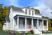 Farmhouse Style House Plan - 4 Beds 3 Baths 2639 Sq/Ft Plan #63-373 Exterior - Front Elevation