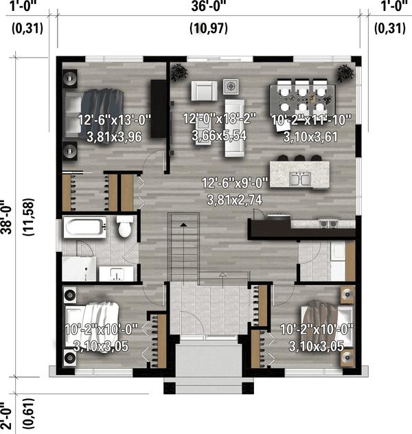 Architectural House Design - Contemporary Floor Plan - Main Floor Plan #25-4918