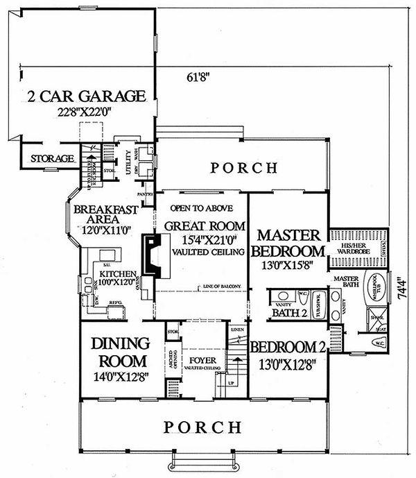 Southern Floor Plan - Main Floor Plan Plan #137-169