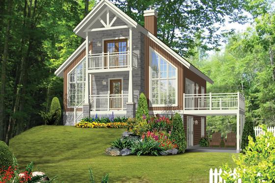 Cabin Exterior - Front Elevation Plan #25-4616