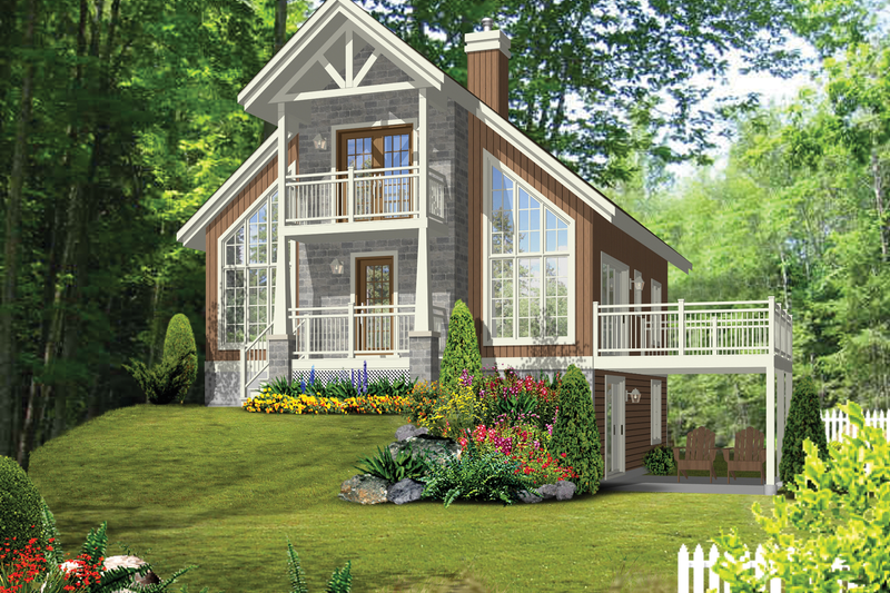 Cabin Style House Plan - 3 Beds 2 Baths 1455 Sq/Ft Plan #25-4616 Exterior - Front Elevation