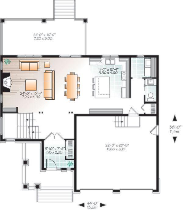 Dream House Plan - Craftsman Floor Plan - Main Floor Plan #23-2704