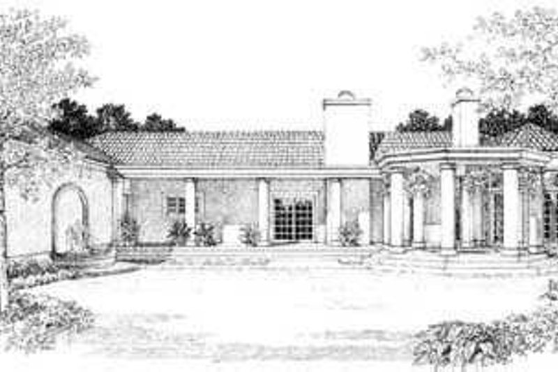 Mediterranean Exterior - Rear Elevation Plan #72-161 - Houseplans.com