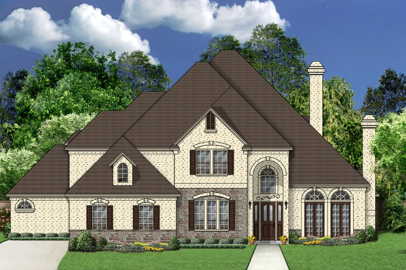 European Style House Plan - 4 Beds 4 Baths 3921 Sq/Ft Plan #84-423 Exterior - Front Elevation