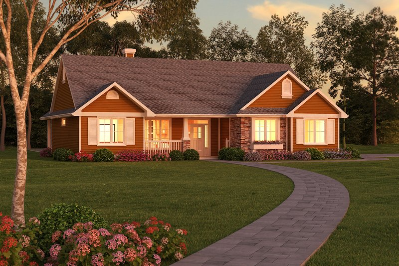 Architectural House Design - Ranch Exterior - Front Elevation Plan #18-1057
