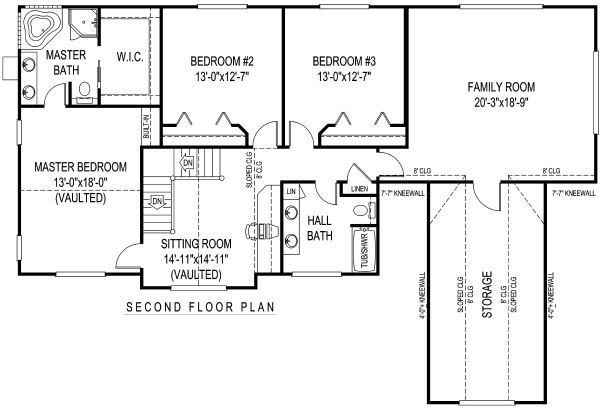 Country Floor Plan - Upper Floor Plan Plan #11-228