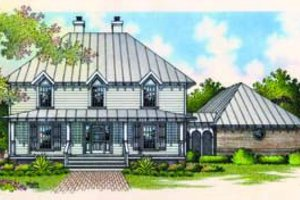 Southern Exterior - Front Elevation Plan #45-205