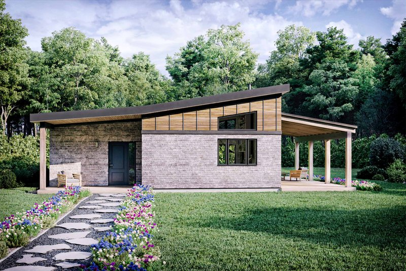 Modern Style House Plan - 2 Beds 1 Baths 880 Sq/Ft Plan #924-3 Exterior - Front Elevation