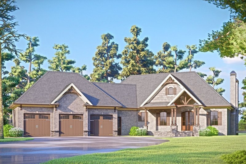 Architectural House Design - Craftsman Exterior - Front Elevation Plan #437-124