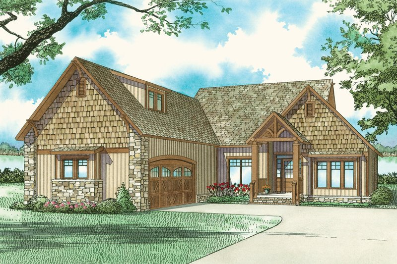 Country Style House Plan - 3 Beds 2 Baths 1874 Sq/Ft Plan #17-2219 Exterior - Front Elevation
