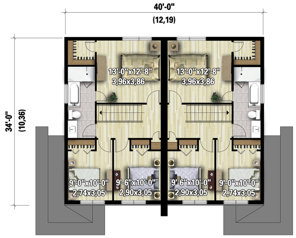 Contemporary Floor Plan - Upper Floor Plan #25-4516