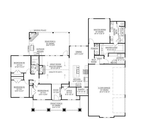 Architectural House Design - Farmhouse Floor Plan - Main Floor Plan #1074-32