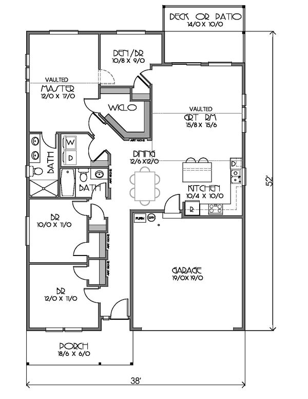 Ranch Floor Plan - Main Floor Plan Plan #423-68