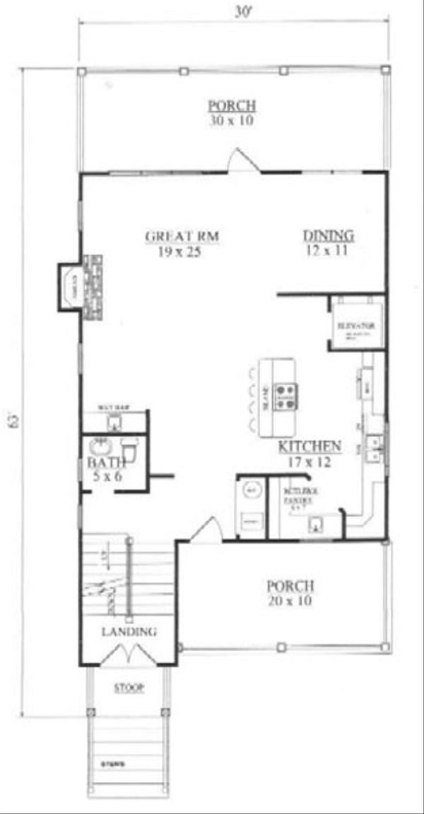Tudor Floor Plan - Main Floor Plan Plan #14-254