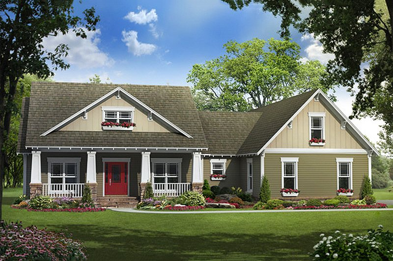 Craftsman Style House Plan - 3 Beds 2.5 Baths 1919 Sq/Ft Plan #21-292 Exterior - Front Elevation