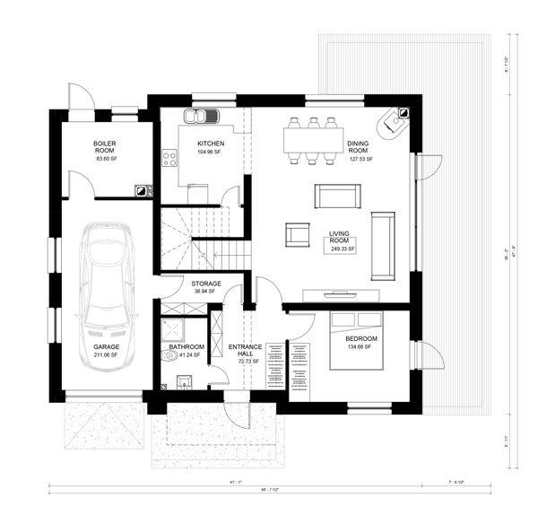 Contemporary Floor Plan - Main Floor Plan Plan #906-19