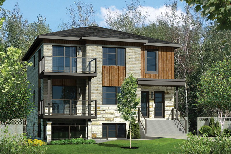 Contemporary Style House Plan - 6 Beds 3 Baths 3534 Sq/Ft Plan #25-4380 Exterior - Front Elevation