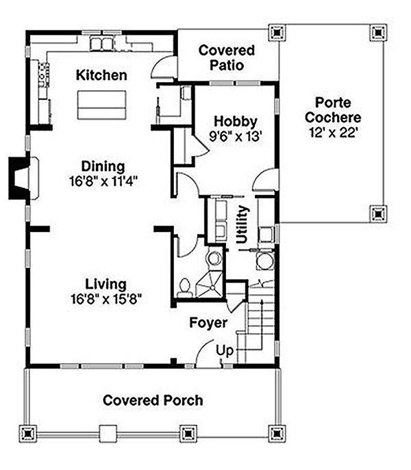 Craftsman Floor Plan - Main Floor Plan Plan #124-844