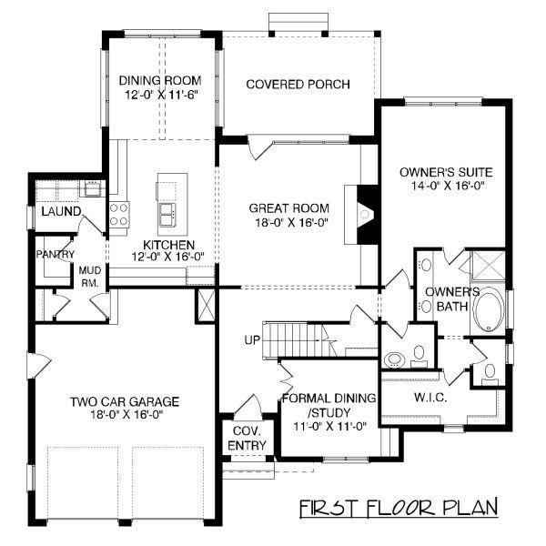 European Floor Plan - Main Floor Plan Plan #413-876
