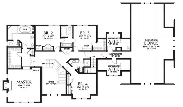 Upper level floor plan - 4000 square foot Country Craftsman home