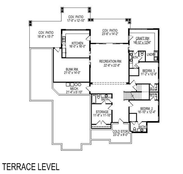 Modern Floor Plan - Lower Floor Plan Plan #920-123