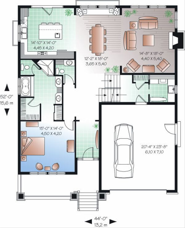 Craftsman Floor Plan - Main Floor Plan Plan #23-813