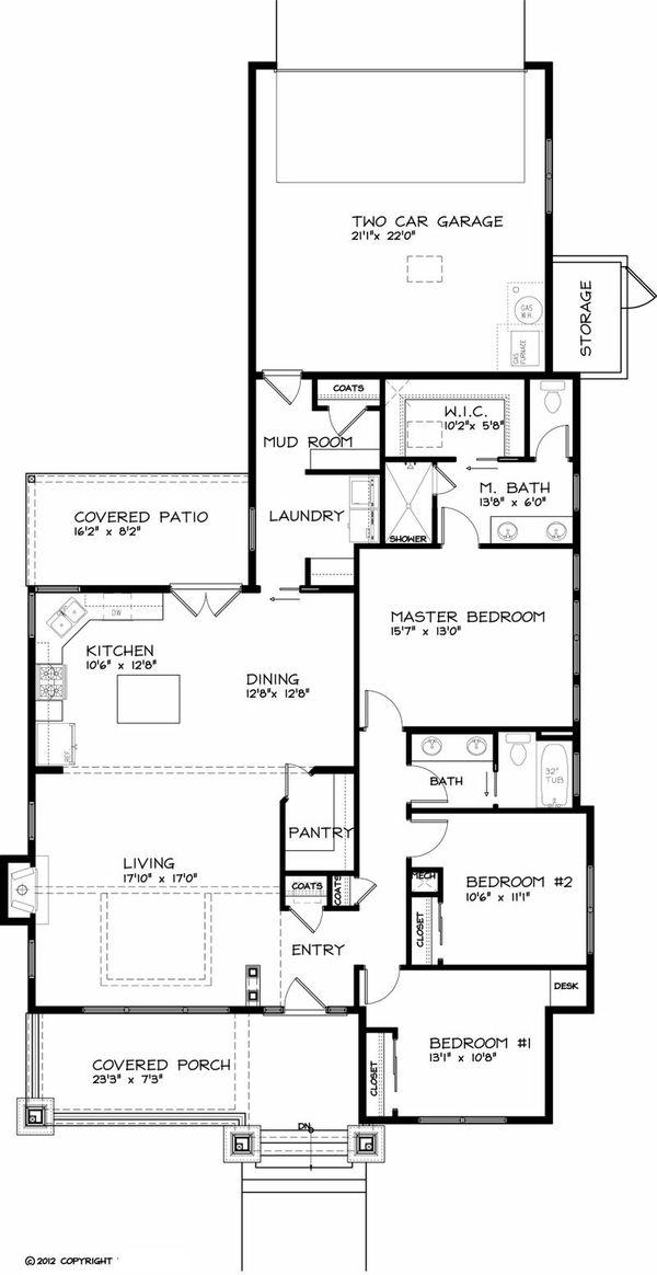 Home Plan - Craftsman style, Bungalow house plan, main level floor plan