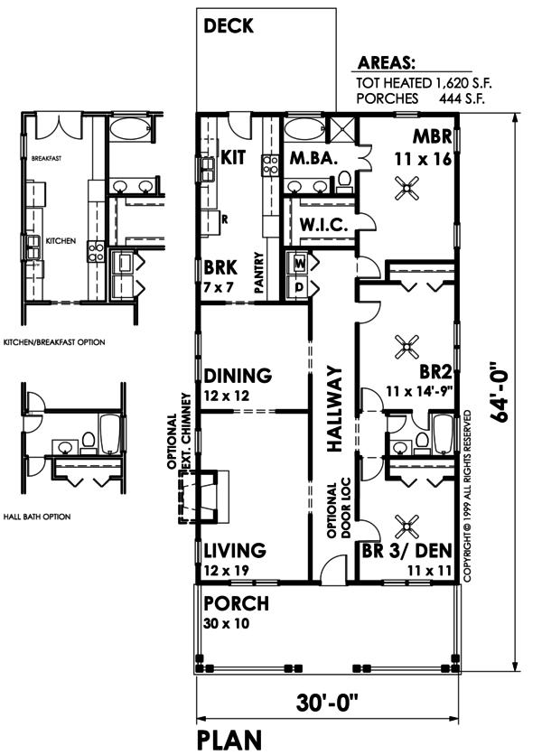 Bungalow Style House Plan - 3 Beds 2 Baths 1620 Sq/Ft Plan #30-209 Floor Plan - Main Floor Plan