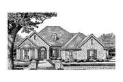 European Style House Plan - 4 Beds 3 Baths 2497 Sq/Ft Plan #310-258 Exterior - Front Elevation