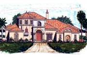 European Style House Plan - 4 Beds 3.5 Baths 3512 Sq/Ft Plan #76-110 Exterior - Front Elevation
