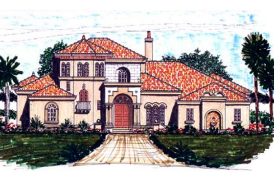 European Exterior - Front Elevation Plan #76-110