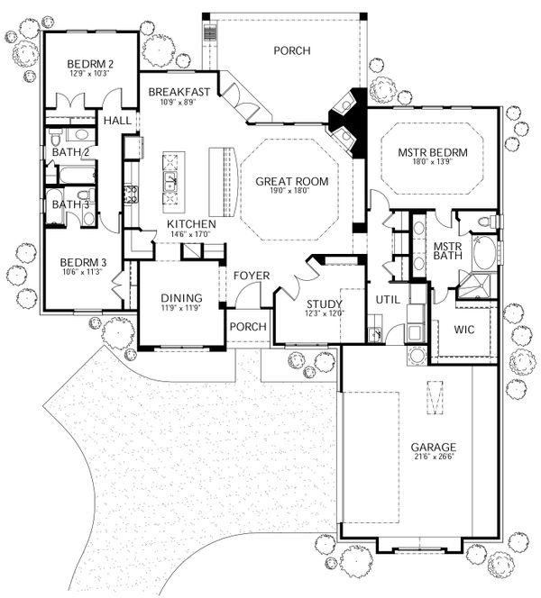 Dream House Plan - Mediterranean Floor Plan - Main Floor Plan #80-146