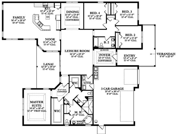 Ranch Floor Plan - Main Floor Plan Plan #1058-170