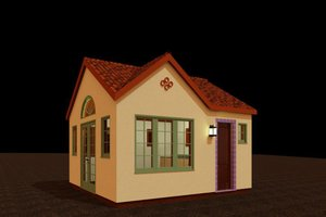 Adobe / Southwestern Exterior - Front Elevation Plan #917-31