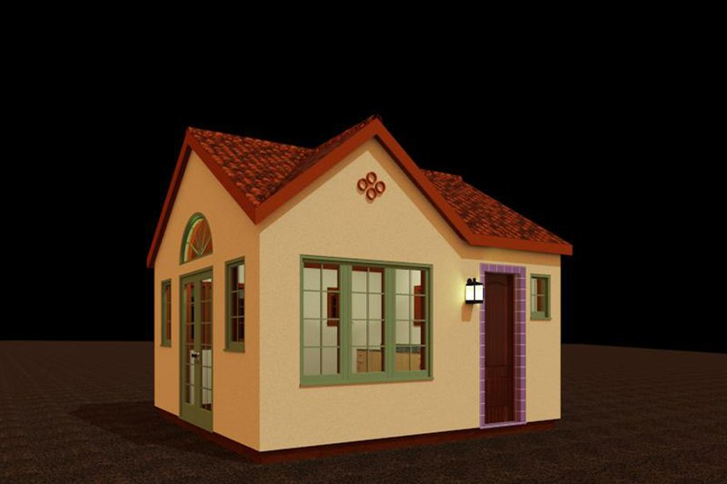 Adobe / Southwestern Style House Plan - 1 Beds 1 Baths 192 Sq/Ft Plan #917-31 Exterior - Front Elevation