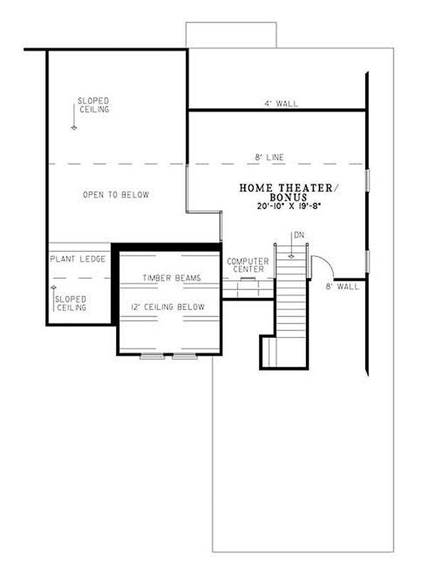 European Floor Plan - Upper Floor Plan Plan #17-113