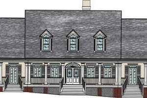 Southern Exterior - Front Elevation Plan #37-104