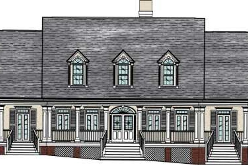 Southern Exterior - Front Elevation Plan #37-104 - Houseplans.com