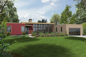 Modern Exterior - Front Elevation Plan #48-477