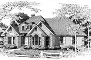 European Exterior - Front Elevation Plan #10-114