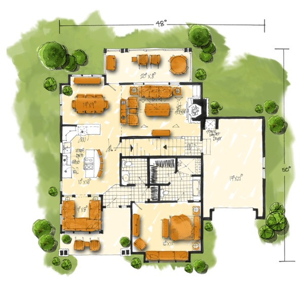 House Plan Design - Country Floor Plan - Main Floor Plan #942-46