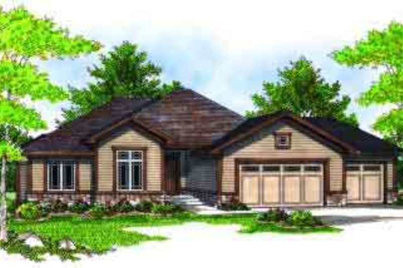 Ranch Style House Plan - 3 Beds 2 Baths 1938 Sq/Ft Plan #70-683 Exterior - Front Elevation