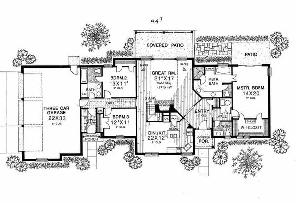 Country Floor Plan - Main Floor Plan Plan #310-617