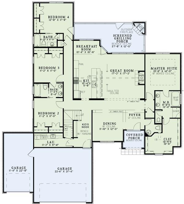 Dream House Plan - European Floor Plan - Main Floor Plan #17-2493