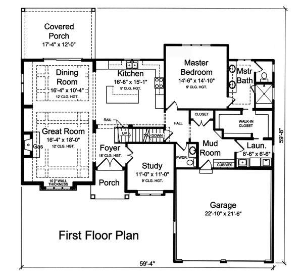 Traditional Floor Plan - Main Floor Plan Plan #46-873