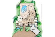 Mediterranean Style House Plan - 3 Beds 3.5 Baths 3859 Sq/Ft Plan #27-414 Floor Plan - Main Floor Plan