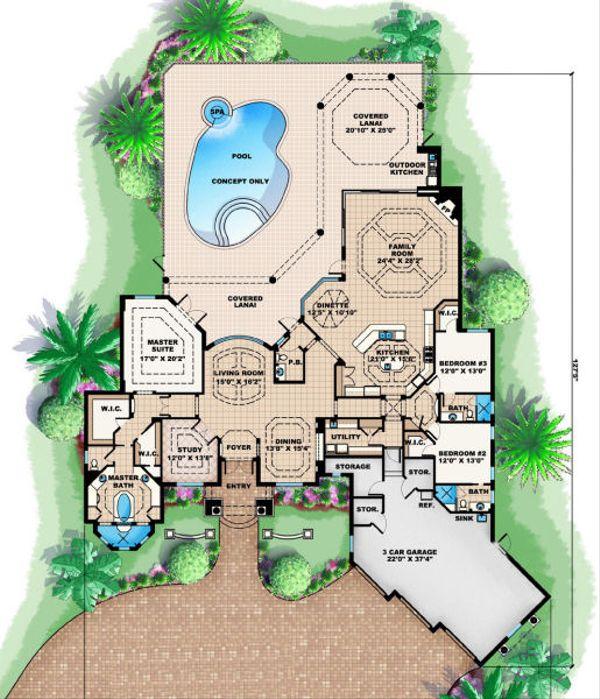 Mediterranean Floor Plan - Main Floor Plan Plan #27-414