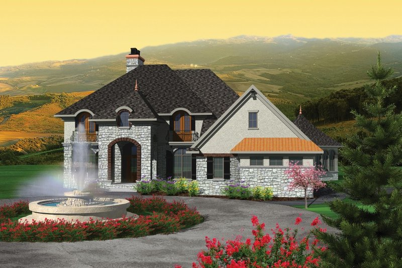 Dream House Plan - European Exterior - Front Elevation Plan #70-1092