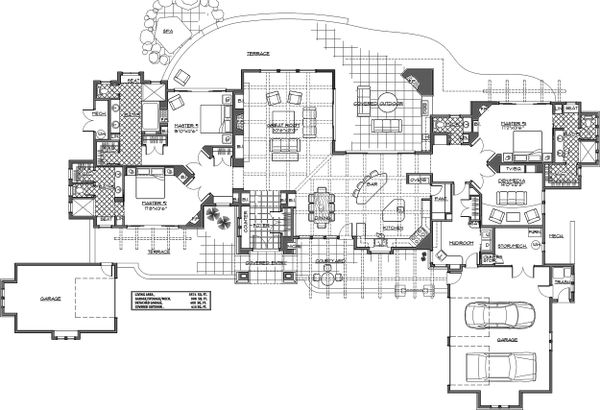 Mediterranean Floor Plan - Main Floor Plan Plan #892-31